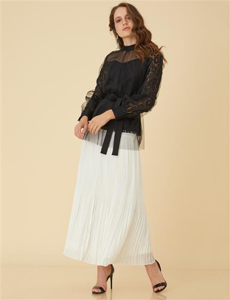 Pleated Skirt B9-12031 Ecru