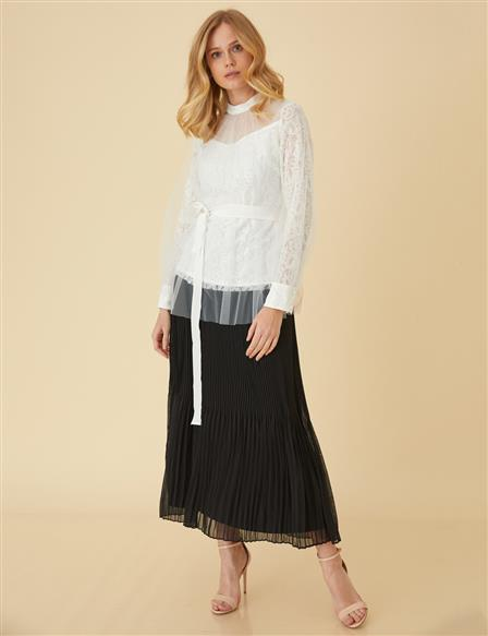 Pleated Skirt B9-12031 Black