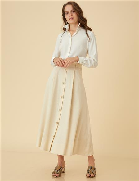 Basic Skirt With Button Detail B9-12061 Cream