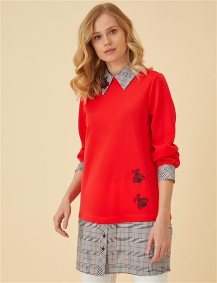 Plaid Patterned Applique Tunic B9-21210 Red