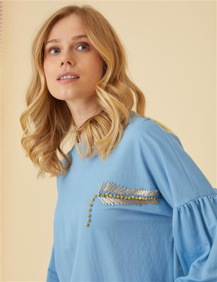 Crew Neck Tunic Top With Embroidery B9-21270 Blue
