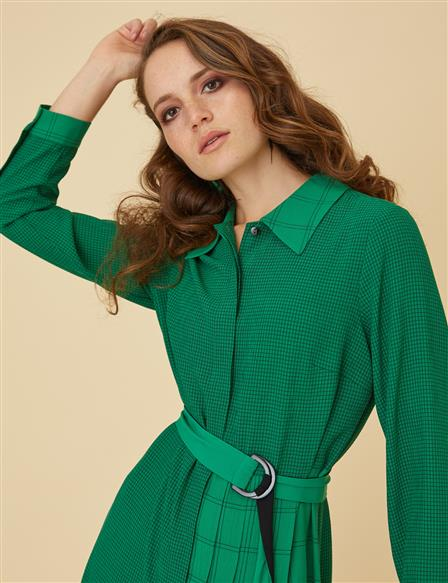 Tunic Dress With Slit and Belt B9-21283 Green