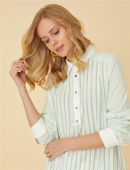 Striped Tunic With Buttons B9-21237 Green