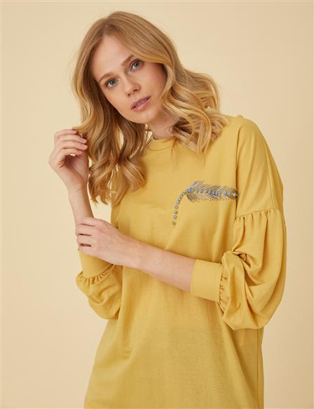 Crew Neck Tunic Top With Embroidery B9-21270 Yellow