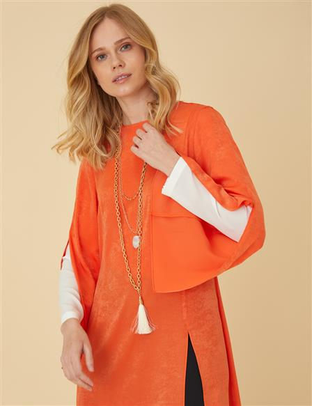 Tunic With Necklace Detail B9-21363 Orange