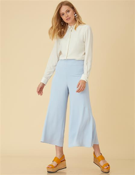 Wide Leg Pants With Zipper B9-19149 Blue