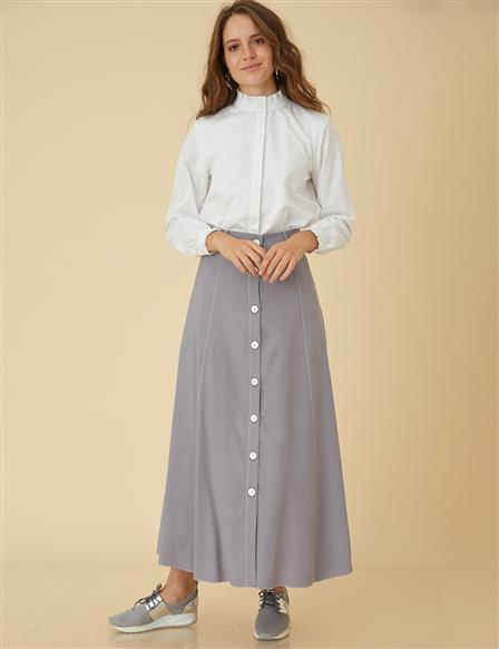 Skirt With Button Detail B9-12048 Grey