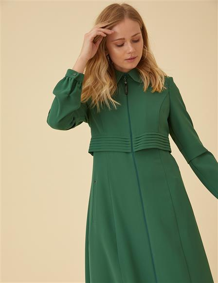 Pleated Overcoat B9-15077 Green