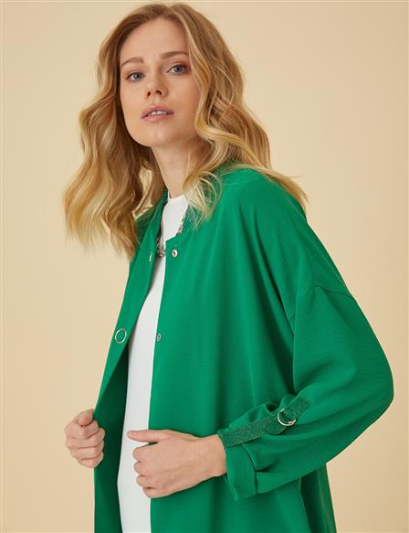 Bomber Jacket With Snap Fastener B9-13043 Green