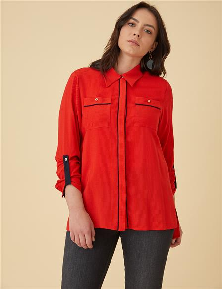Shirt With Pocekts B9-10112 Red