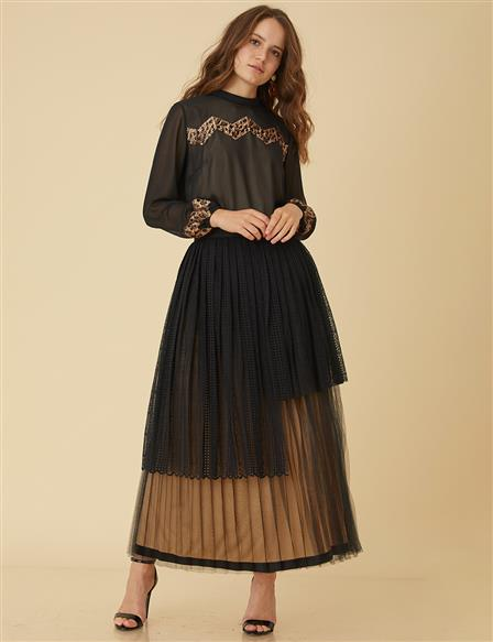 Tulle Detailed Skirt B9-12041 Black