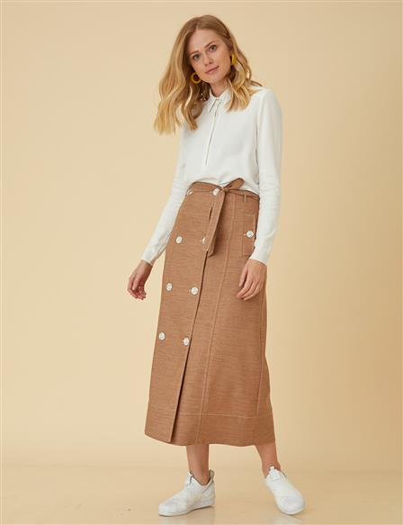 Skirt With Button Detail B9-12070 Camel