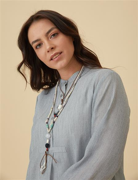 Oversize Tunic With Necklace B9-21318 Grey