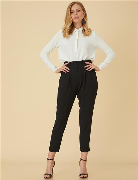 Pleated Pants B9-19119 Black