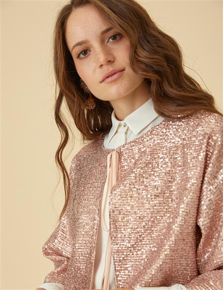 Sequin Detailed Jacket B9-13064 Powder