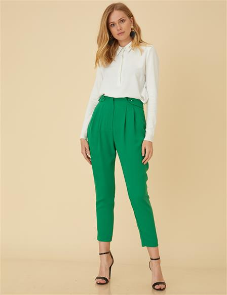 Pleated Pants B9-19119 Green