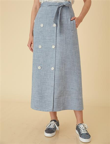 Skirt With Button Detail B9-12070 Blue