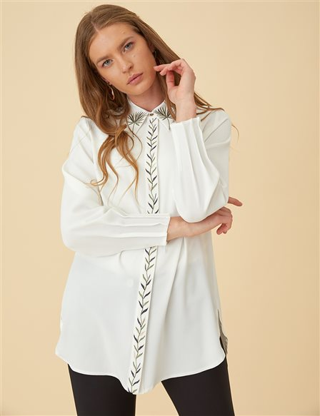 Shirt with Embellishments B9-11033 Ecru