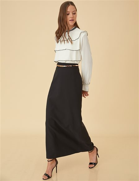 Pencil Skirt with Belt B9-12020 Black