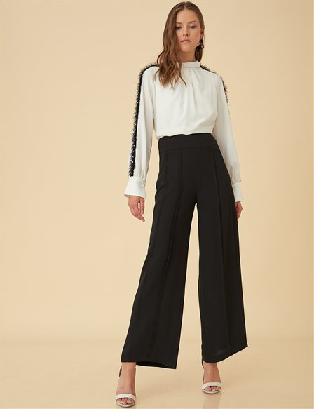 Wide Leg Pants B9-19167 Black