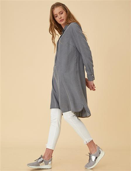 Tencel Tunic Top B9-21214 Light Grey