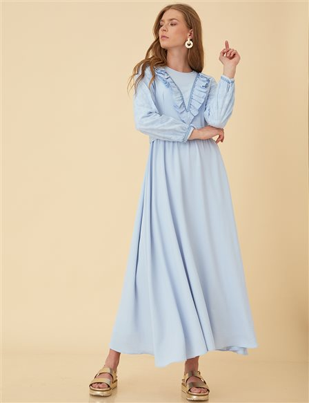 Maxi Dress with Belt B9-23090 Blue
