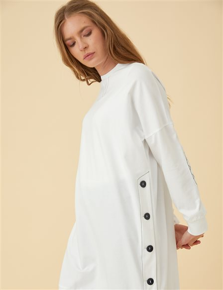 Tunic Top with Button Details B9-21243 White