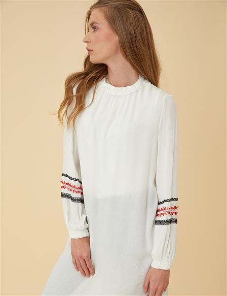 Tunic Top with Embroidery B9-21376 Ecru