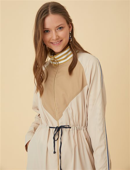 Trenchcoat with Zipper B9-24015 Beige