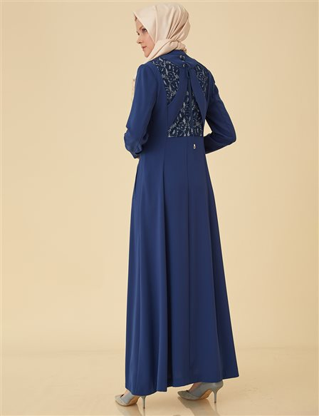 Overcoat with Lace Back B9-15098 Petrol