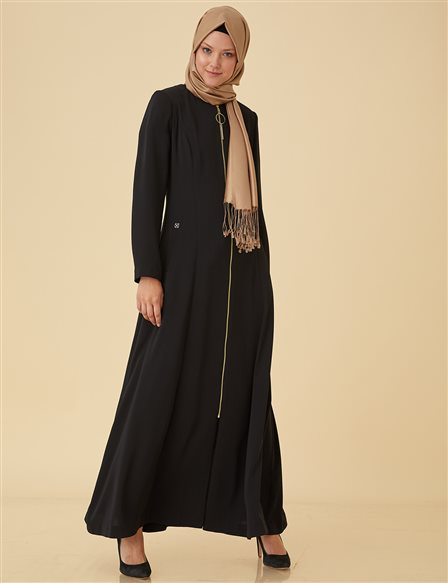 Overcoat with Lace Back B9-15098 Black