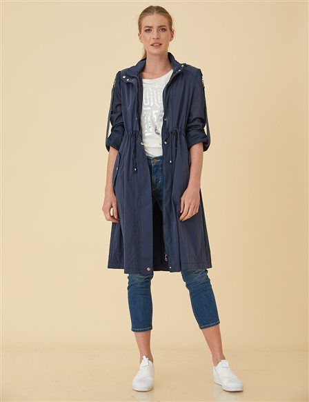 Trenchcoat with Snap B9-14067 Navy