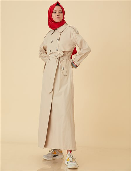Maxi Trenchcoat with Buttons B9-15041 Cream