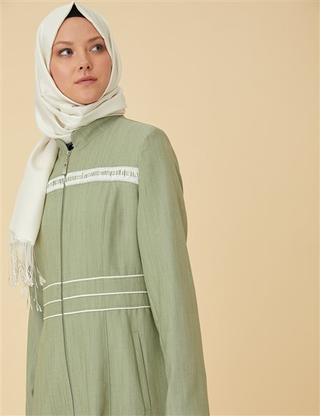 Overcoat with Zipper B9-15059 Green