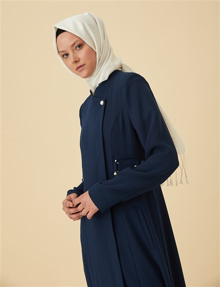Overcoat with Metallic Details B9-15086 Navy