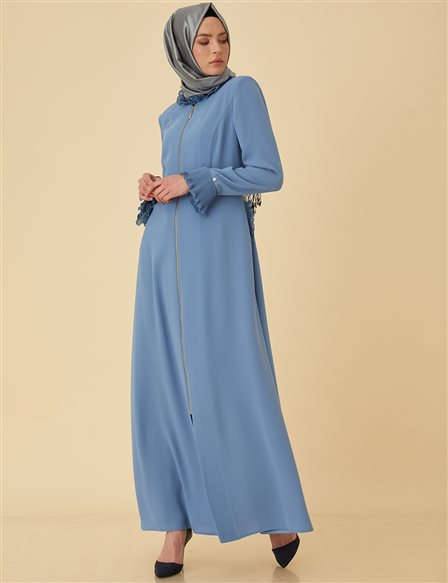 Overcoat with Chiffon Pleats B9-15094 Blue