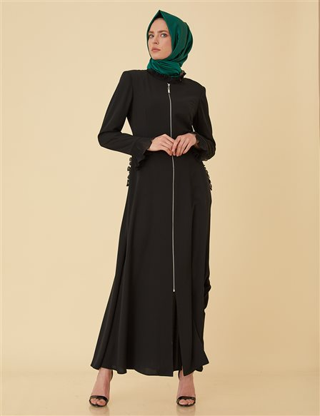 Overcoat with Chiffon Pleats B9-15094 Black
