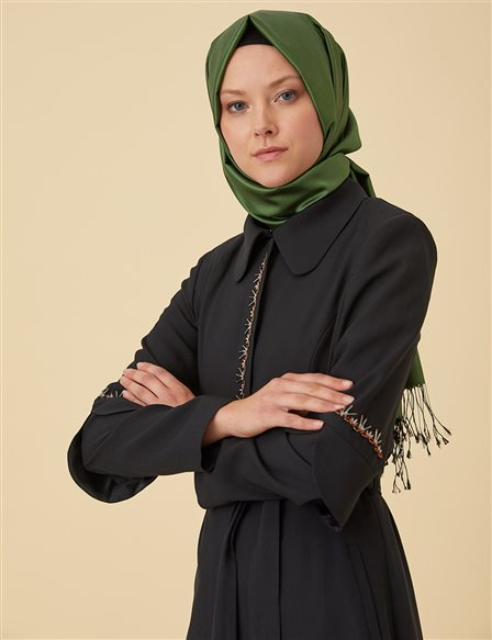 Overcoat with Beads B9-15142 Black