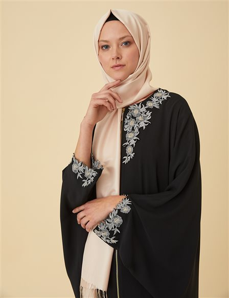 Applique Abaya Black B9-30001