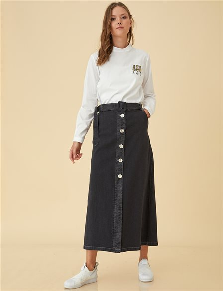 Denim Skirt With Button B9-12009 Smoke