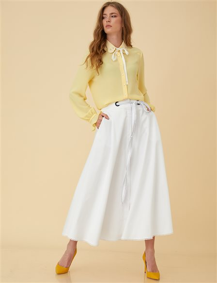 High Waist Circle Skirt B9-12079 White