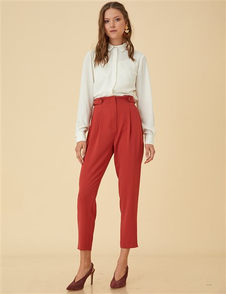 Slim Cut Pants B9-19159 Red