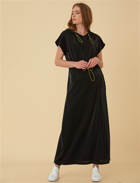 Short Sleeve Maxi Dress B9-23083 Black
