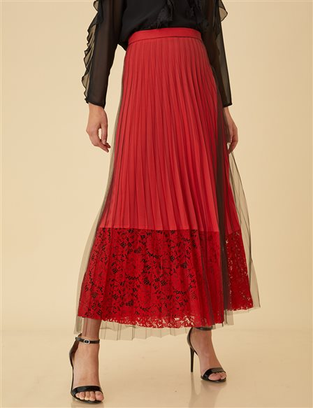 Pleated Lace Skirt B9-12045 Red