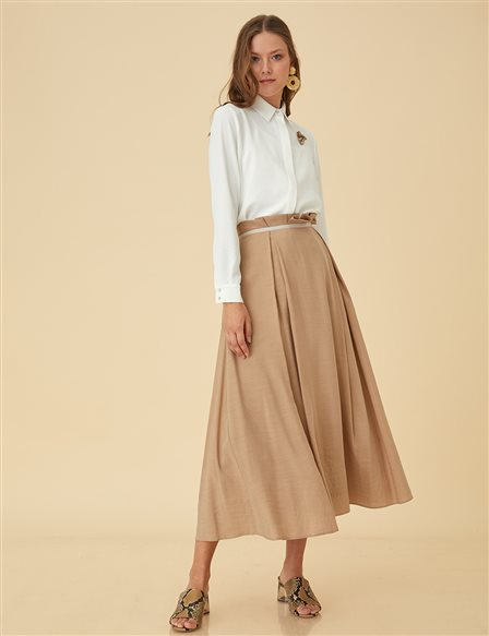 High Waist Skirt B9-12080 Beige