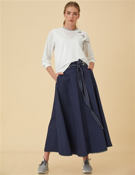 High Waist Circle Skirt B9-12079 Navy