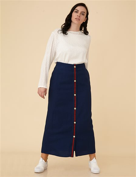 Denim Plus Size Skirt B9-12051 Navy