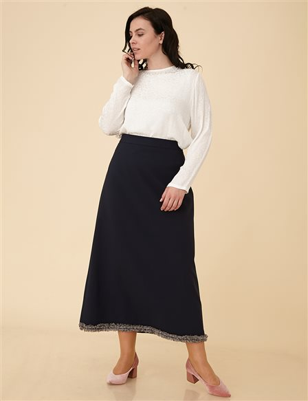 Plus Size Skirt B9-12071 Navy