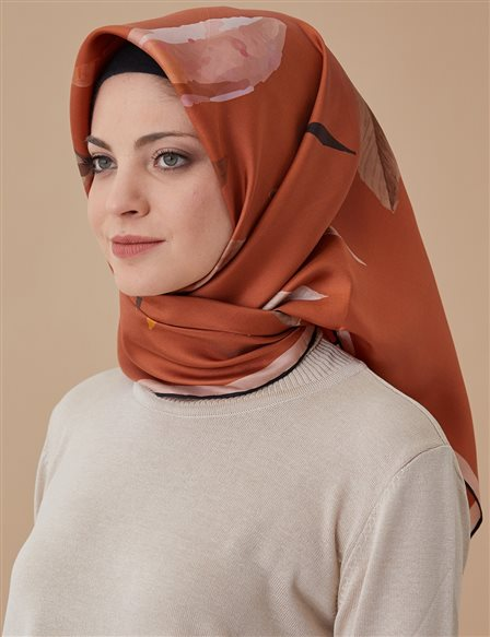 Twill Silk Scarf Orange A8 ESP35
