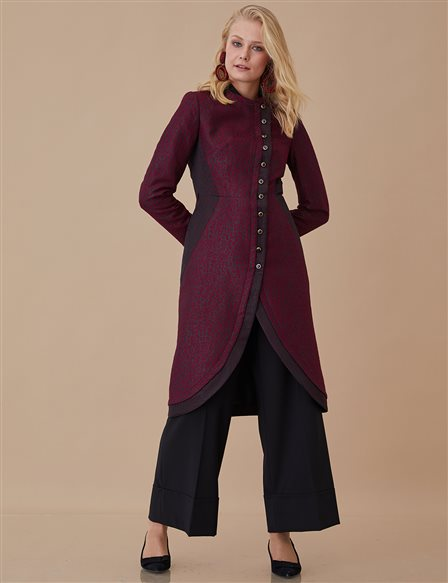 Double-Breasted Brocade Jacket A8-13051 Plum